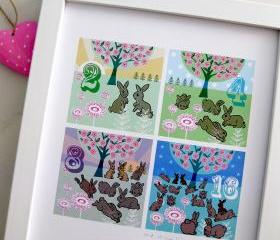'Double Bunnies' A4 Unframed Print