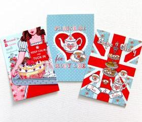Pack of 3 A6 Postcard Prints 'Stressed is Desserts' 'Rosy Lea' 'Hope & Glory'