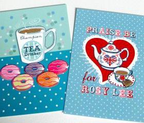 Pack of 2 A6 Postcard Prints 'Praise Be for Rosy Lee' & 'Champion Tea Drinker'