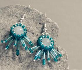 Teal winter fashion jewelry. Opal bead wrapped fringe dangle earrings. tbteam spteam