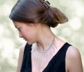 Statement jewelry Silver threads of rain. Boho chic fringes choker style necklace. Glitter holiday tbteam spteam