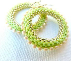 Lime Green Bead Woven Hoop Earrings, Spring Fashion Everyday jewelry