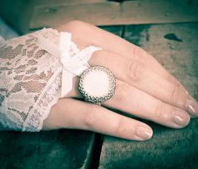 Pirate mood. Statement cocktail ring. Bead woven Framed Shell coin in silver. made for order