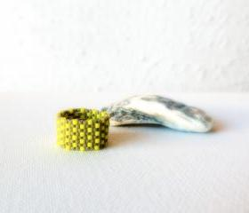 Textured band ring. Yellow grey beaded custom modern jewelry tbteam,