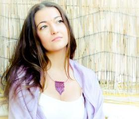 Boho chic Amethyst fringe pendant, beaded necklace. Valentines day unique gift idea. fashion jewelry. tbteam spteam