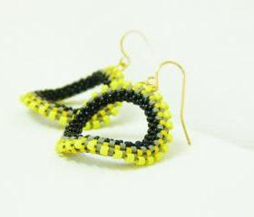 Urban chic yellow grey black original hoop earrings. Modern jewelry tbteam