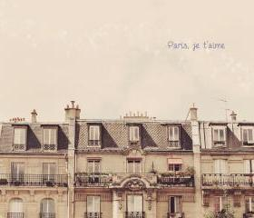 Paris Photo. Je t'aime. French. Apartment Rooftop. Fine Art Travel Photography. Size 8x10'