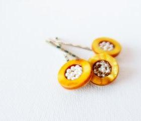 Bird nest. Yellow beaded hair bobby pins. Spring summer hair piece accessories.