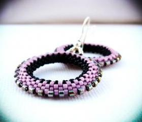 Old Rose.Goth black pink silver beadwoven hoop earrings.