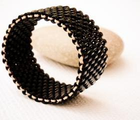 Nostalgic. Unisex minimalist street style Custom Band Ring. Beaded Black. tbteam