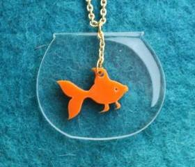 Goldfish Necklace,PlexiglassJewelry,Lasercut Acrylic,Gifts Under 25