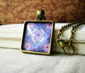 Square Retro Necklace, Purple Flower Design, Squared Cabochon Pendant Necklace with Image