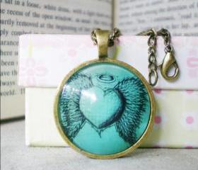 Retro Heart Necklace, Angel Heart, Domed Cabochon Necklace Handmade