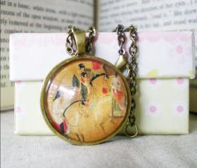 Wearable Art Necklace, Chinese Painting, Vintage Picture Necklace