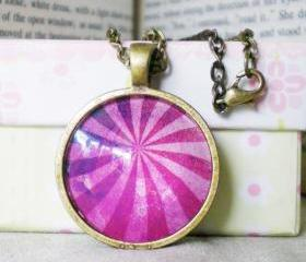 Altered Art Necklace, Purple Light, Handcrafted Necklace with Image and Glass Cabochon, Ready to Ship