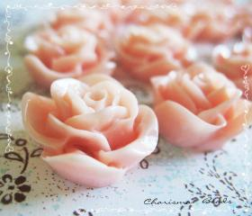 12 Resin Roses Cabochons Flower Accessory 22x22x12mm