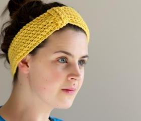 Mustard Yellow Crochet Headband - Ear warmers