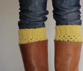 Crochet Boot Cuffs in Mustard Yellow