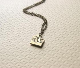 Love Letter Necklace I Love You Necklace Antique Brass Bridesmaid Gifts - I Love You Letter
