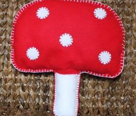 Mushroom Toadstool Cushion Red and White Handmade Cute Felt