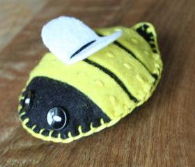 Bumble Bee Plush Toy or Pincushion WingsYellow Black White - Barry Felt