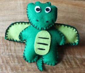 Dragon Dinosaur Teddy Bear Green Handmade Felt