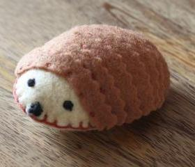 Hedgehog Plush Toy Pincushion Handmade Brown Felt