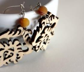 natural wood earrings -baroque wooden - elegant with brown stone