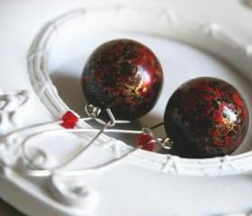 black red gold earrings big beads - paint on black
