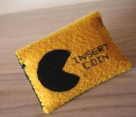 insert coin - mustard felt wallet for coins or cards - geekery pac man inspiration