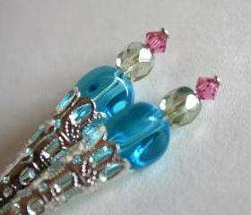 dangle glass earrings - yummy candy - sweet and lovely - blue pink green