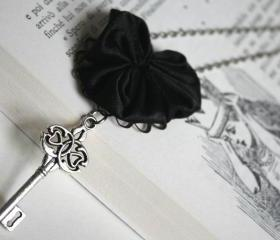 silver skeleton key necklace with fabric heart - black silver romantic