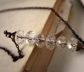 crystal necklace clear rondelles copper chain - modern simple minimal elegant shining