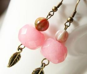 earrings -pink berries - pink bronze romantic woodland