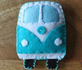 VW Classic campervan Teal / Turquiose Toy Plushie Air Freshener Felt