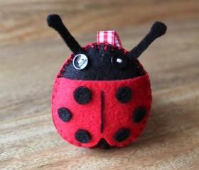 Ladybird Plush Toy or Pincushion Red and Black Handmade Felt