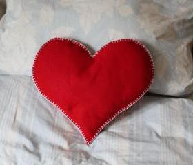 Heart Cushion Red Love Handmade Wedding Felt