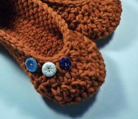Womens slippers - orange wool - vintage buttons