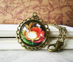 Retro Flower Necklace, Glory Color Image, Domed Glass Cabochon and Antiqued Brass Bezel Set