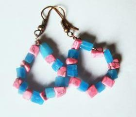 Funky Pink and Blue Gemstone Earrings