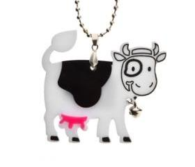 Happy Cow Necklace,Plexiglass Kawaii Necklace,Lasercut Acrylic,Gifts under 25