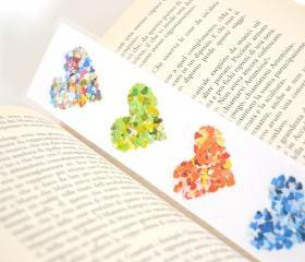Laminated bookmark - rainbow colorful hearts