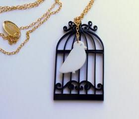 Birdcage Necklace,Plexiglass Jewelry,Lasercut Acrylic,Gifts Under 25