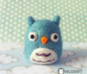 Lovely Blue Mint OWL Needle Felt 5 cm tall