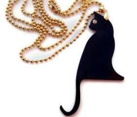 Black Cat Necklace,Plexiglass Jewelry,Gifts Under 25