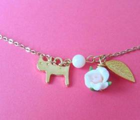 Kitty Loves Rose Bracelet - 14K gold-plated chain, Cat, Shell Pearl, Leaf & Rose