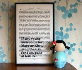 Pride and Prejudice Quote Art I am quite at leisure Framed Altered Book Art