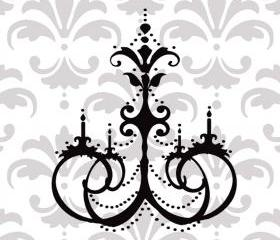 Stylish and Elegant Vinyl Chandelier Vinyl Decal - UK Seller - Chandelier 1