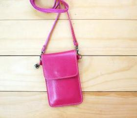 iPhone case, Leather bag with Strap, Pink