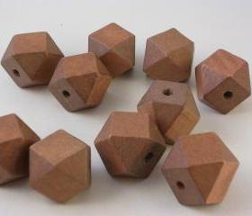 10 Chocolate Brown Faceted Wood Cube Beads (WB48)